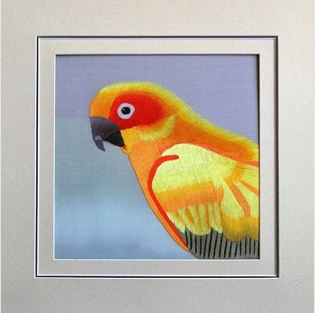 Sun Conure Embroidered Silk Art