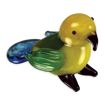 Tiny Glass Amazon Parrot Figurine