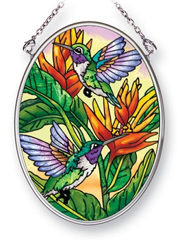 Tropical Hummingbirds Stained Glass Suncatcher