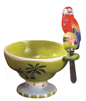 Tropical Palm Bowl with Parrot Spreader
