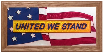 United We Stand Art Glass Window Panel (shown framed in medium oak)