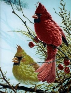 Cardinals Stained Glass Suncatcher