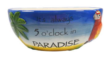 Always 5 O'Clock in Paradise Parrot Bowl