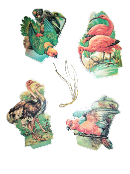 Antiqued Birds - Set of 4