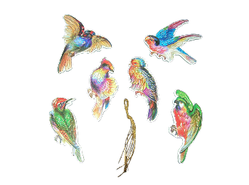 Antiqued Birds - Set of 6