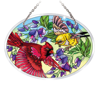 Beveled Stained Glass Songbirds Suncatcher