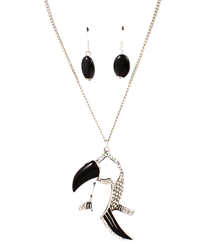 Toucan Necklace with Earrings - Black