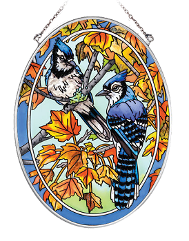 Blue Jays and Maple Leaves Suncatcher