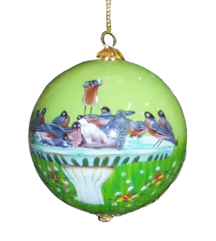 Cannonball Robins Birdbath Ornament