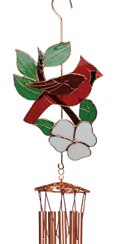 Cardinal Large Leaded Stained Glass Wind Chime