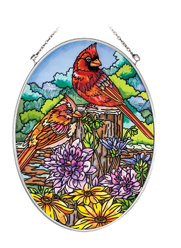 Cardinals and Dahlias Suncatcher - Medium Oval