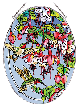 Cascading Fuchsia and Hummingbirds Suncatcher