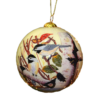 Chickadees Inside Art Ornament