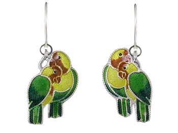 Enamel Silver Lovebird Earrings