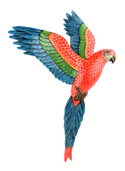Flying Green Wing Macaw Wall Plaque