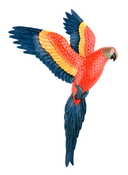 Flying Scarlet Macaw Wall Plaque - Facing Right