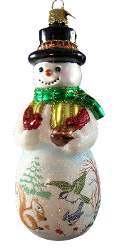 Glistening Friendly Frosty Snowman Ornament