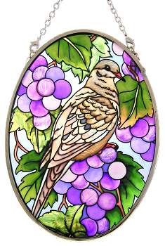 Grapes and Mourning Dove Stained Glass Suncatcher