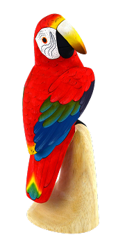 Green-Wing Macaw Wood Figurine