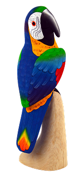 Blue and Gold Macaw Wood Figurine