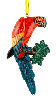 Hanging Scarlet Macaw Ornament