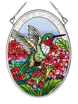 Hummingbird in Flowers Stained Glass Suncatcher