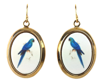 Hyacinth Macaw Earrings - Gold