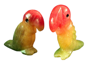 Onyx Parrot Figurines (two shown)