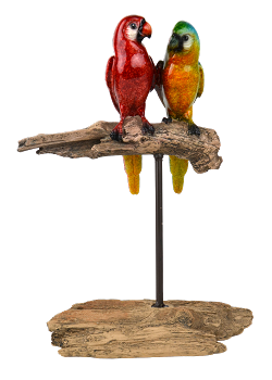 Macaws on Branch Figurine