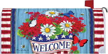 Patriotic Flowers Mailbox Cover