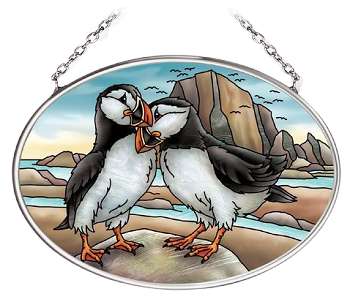Puffins Suncatcher - Small Oval