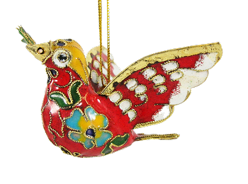 Cloisonne Dove Ornament - Red