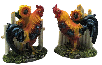 Rooster with Fence Figurine Pair