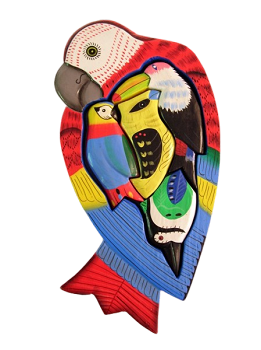 Small Wooden Red Macaw Puzzle