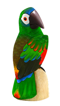 Blue Front Amazon Parrot Wood Figurine