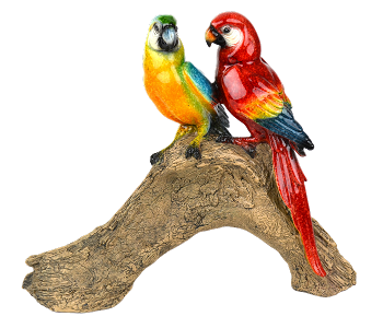 Macaws on a Log Figurine
