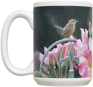 Wren and Pink Flowers Mug