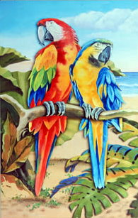 Two Macaws Rectangular Wall Plaque