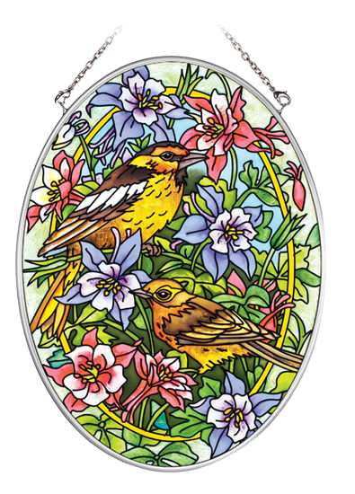 Warblers and Columbines Suncatcher - Medium Oval