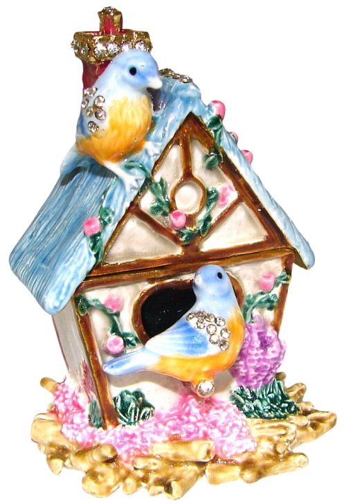Bluebirds and Birdhouse Trinket Box