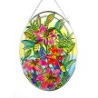 Daylilies and Hummingbirds Stained Glass Suncatcher