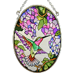Hummingbird and Wisteria Stained Glass Suncatcher