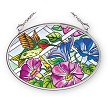 Hummingbird and Morning Glories Stained Glass Suncatcher
