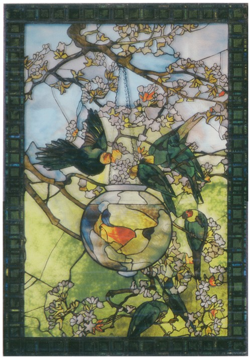 Parrots and Goldfish Stained Glass Window Panel