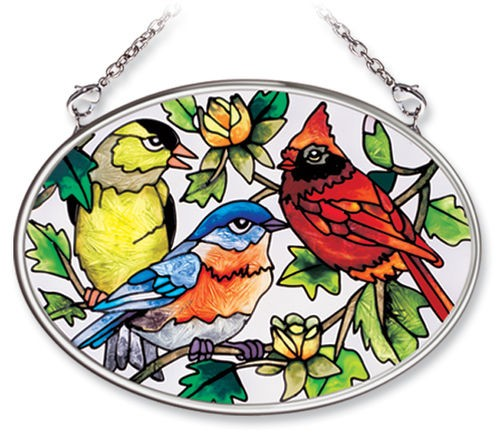 Songbird Trio Stained Glass Suncatcher